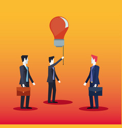 businessmen teamwork with bulb creativity vector image