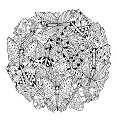 butterflies circle shape coloring page coloring vector image