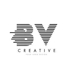 Bv b v zebra letter logo design with black and vector