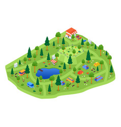 Camping site - modern colorful isometric vector
