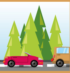Car and truck over rood with forestal landscape vector