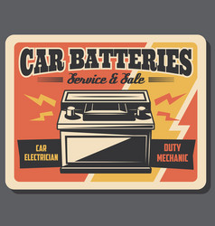 Car battery charging auto repair service vector
