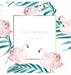 Card template flamingo birds rose flowers greenery vector