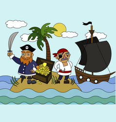 cartoon pirates coloring vector image