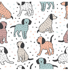 childish seamless pattern with dogs cute baby vector image