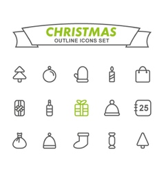 Christmas outline icons set vector image