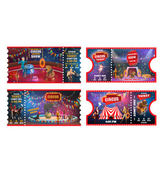 circus tickets with acrobats animals and magician vector image