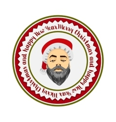 Colored flat logo daring hipster Santa Claus vector