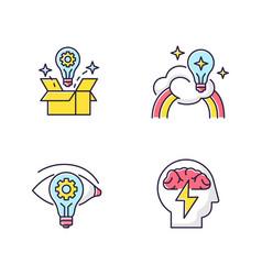 Creative mindset rgb color icons set vector
