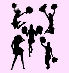 Cute dancer cheerleader silhouette vector