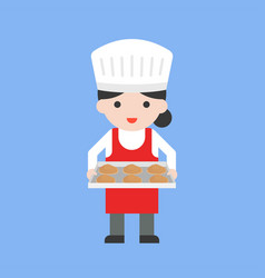 Cute female pastry chef holding baking tray and vector
