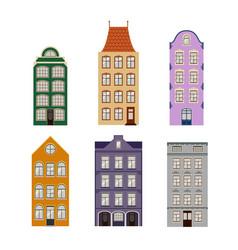 Cute retro houses exterior set collection of vector
