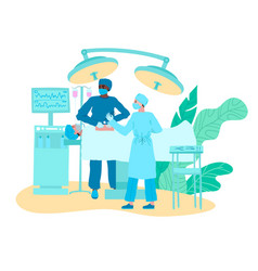 Doctors medical surgeons in operation theater on vector