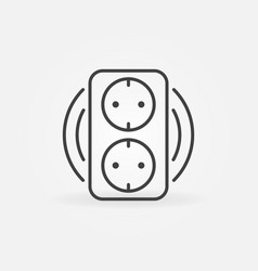 Double smart socket concept icon in outline vector