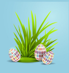 easter eggs in green grass vector image