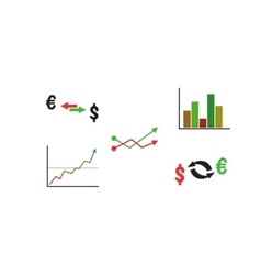 Finance icon set with graph and currency vector image