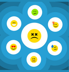 Flat icon expression set grin cross-eyed face vector
