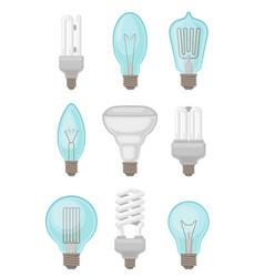Flat set different types light bulbs vector