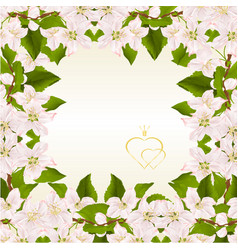 floral frame background with twig of apple tree vector image