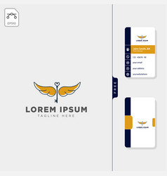 fly key wing logo template free business card vector image