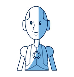 Friendly android robot character cyborg future vector