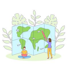 girl guy travel map tourism filled outline vector image