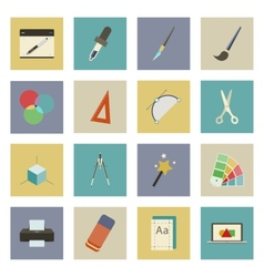 Graphic and design flat icons set vector