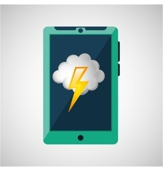 green smartphone weather lightning cloud icon vector image