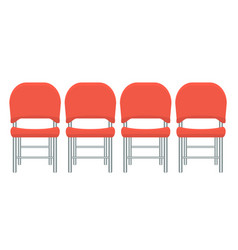 Group of red plastic chairs with flat and solid vector
