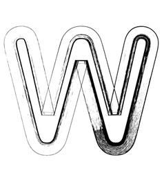 Grunge Font letter W vector