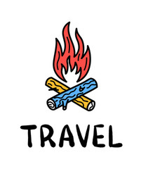 hand draw doodle bonfire and wood travel camp icon vector image
