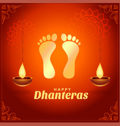 Happy dhanteras wishes with golden god foot prints vector