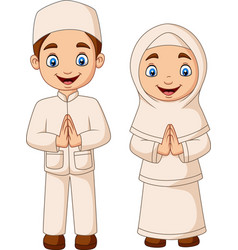 happy muslim kid cartoon on white background vector image