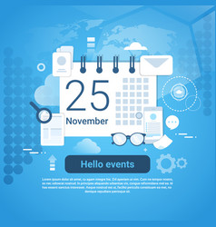 Hello events time management template web banner vector