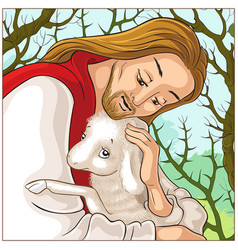 History of jesus christ parable of the lost sheep vector
