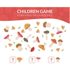 how many mushrooms educational counting game vector image
