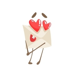 In Love Humanized Letter Paper Envelop Cartoon vector