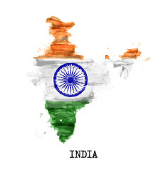 India flag watercolor painting design country vector