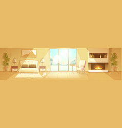interior hotel bedroom winter resort vector image