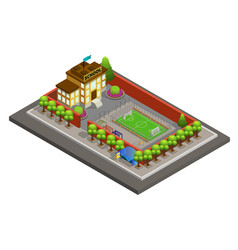 isometric city school building template vector image