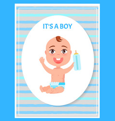 its boy poster oval frame happy infant in diaper vector image