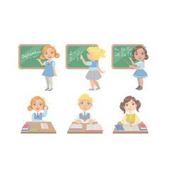 kid reading books set students studying at school vector image