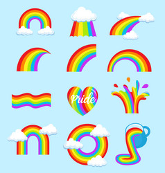 lgbt rainbow flag symbols different shapes icons vector image