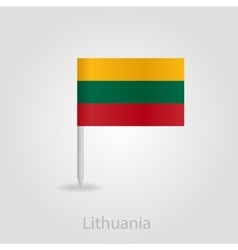 Lithuanian flag pin map icon vector