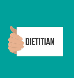 Man showing paper dietitian text vector