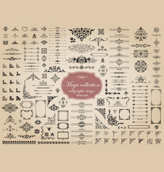 mega set calligraphic elements for design vector image