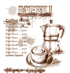 menu card template fresh coffee drink vector image