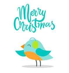 Merry christmas bird with plumage warm earpieces vector