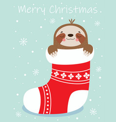 merry christmas card with cute sloth vector image
