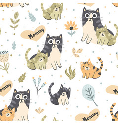 Mother cat with kitten seamless pattern vector